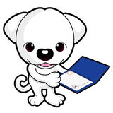 Dog mascot is holding a breed registry. Animal Character Design Royalty Free Stock Images