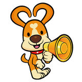 Dog Mascot the  Left hand is holding a loudspeaker. Animal Chara Stock Photography