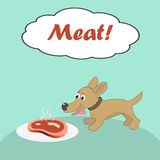 Dog and meat Stock Photography