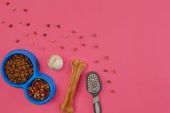 Dog mellanmål, hundtuggningar, hundbenet, bollleksaken för hund på en rosa bakgrund med kopieringsutrymme Royaltyfri Fotografi
