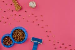 Dog mellanmål, hundtuggningar, hundbenet, bollleksaken för hund på en rosa bakgrund med kopieringsutrymme Arkivbild