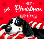 Dog. Merry Christmas and a Happy New Year 2018. Happy, funny puppy Royalty Free Stock Photo