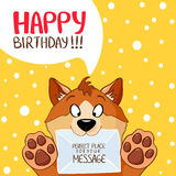 Dog message birthday Royalty Free Stock Photo