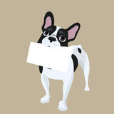 Dog with message paper Royalty Free Stock Photography