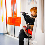 A dog in the metro