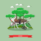 Dog mobility aid vector illustration in flat style Stock Images