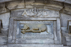 Dog monument bas relief Royalty Free Stock Photography