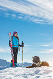 Dog in the mountains in the snow with mistress in alpine skiing Royalty Free Stock Image