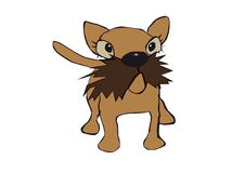 Dog with moustasche. A small puppy dog with a moustasche and big glancy eyes royalty free illustration