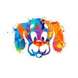 Dog muzzle of splash paint. Vector muzzle of dog. Watercolor splash paint Stock Images