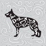Dog is my best friend. Motivational handwritten quote on a black silhouette of german shepherd Stock Photos