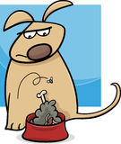Dog and nasty food cartoon Stock Image