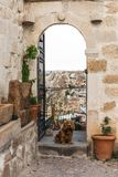 Dog near open door with majestic view at rock formations. In cappadocia, turkey royalty free stock photos