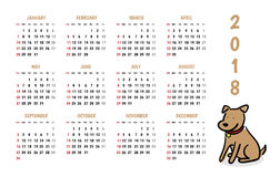 2018 dog new year vector calendar with cute doodle cartoon style stock illustration