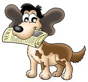Dog with news. Illustration of dog holding newspaper stock illustration