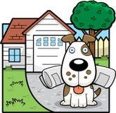 Dog Newspaper. A cartoon dog with a newspaper