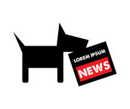 Dog and Newspaper Logo Concept Stock Photography