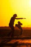 Dog och dess ägare som leker på stranden Royaltyfri Foto
