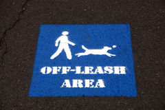 Dog off-leash sign Stock Photography