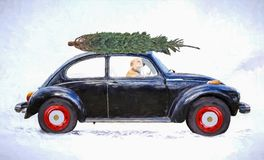 Dog in old car with Christmas tree impressionism Royalty Free Stock Images