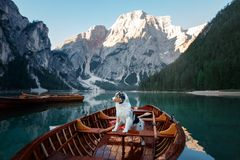 Free Dog On Lake Braies In Italy. Australian Shepherd In A Boat. Pet Travel To Lago Di Braies Royalty Free Stock Photos - 156490168