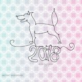 2018 dog with one line for the new year abstract background   Stock Photo