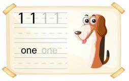 Dog one number worksheet. Illustration royalty free illustration