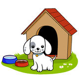 Dog outside doghouse. A dog standing outside his doghouse vector illustration