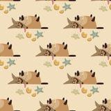 Dog overeaten cookies. Seamless vector pattern, funny dog overeaten cookies Vector Illustration