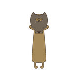 Dog with owl mask. Cute beige colored brown contoured dachshund standing on hind legs with dissolved forelegs, holding mask in the shape of owl in his paws. Flat Stock Image