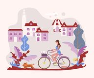 Beautiful woman pet owner on bicycle with her dog stock illustration