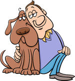 Dog with owner cartoon illustration Stock Image