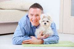 Dog and owner. Little dog maltese laying with his owner on the floor in home Stock Photos
