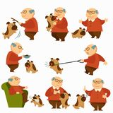 Dog with owner, pensioner with pet on leash walking vector illustration