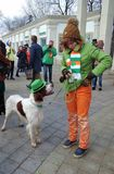 Dog and owner at Saint Patrick`s Day celebration in Moscow Stock Photography