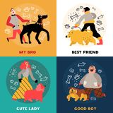 Dog Owners Design Concept. With best friend, cute lady with poodle, good boy, doberman isolated vector illustration Stock Photos