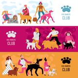 Dog Owners Horizontal Banners. Club of dog owners horizontal banners set with adults and kids, different canine breeds isolated vector illustration Stock Image
