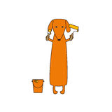 Dog with paint bucket, roller and brush Royalty Free Stock Images
