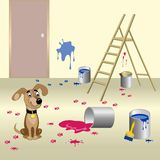 Dog and paint. Dog spilled paint and leave muddy footprints on the floor. Vector illustration Stock Photo