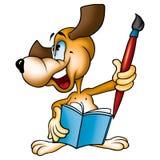 Dog painter with brush Stock Photos