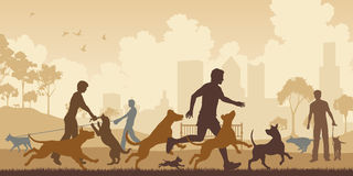 Dog park. Editable vector illustration of dogs and their owners in a park with all elements as separate objects vector illustration