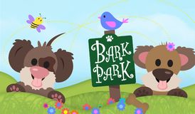 Dog Park Sign Bark Park Sign. Dog Park Sign Bark Park Dogs Field Puppies Bird Grass Lawn Leash Off bee poodle spaniel cocker pitt bull german shepard lab party vector illustration