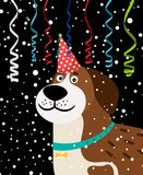 Dog party background. Serpentine, falling snow and a dog in festive hat vector illustration Stock Image