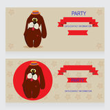 Dog. Party Design template with dog and ladybug , vector illustration Stock Photos