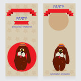 Dog. Party Design template with dog and ladybug , vector illustration Royalty Free Stock Photo