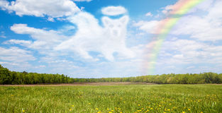 Dog Passing Over Rainbow Bridge Stock Images