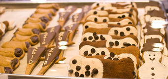 Dog pastries. Delicious dog pastries in a sales counter Royalty Free Stock Photos