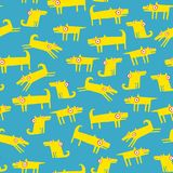 Dog pattern with light blue background Royalty Free Stock Image