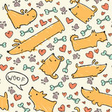 Dog pattern. Seamless hand drawn dog pattern Stock Photos