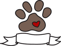 Dog Paw Banner Royalty Free Stock Images